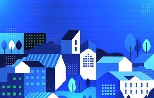 Blue Neighbourhood Flat Homes Background vector