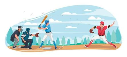 Men in Uniform Playing Softball in The Summer Field vector