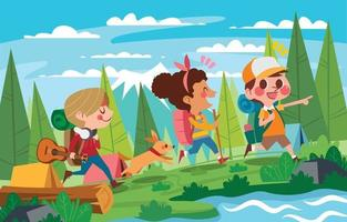 Kids Go Hiking and Adventures in The Summer Camp Woods vector