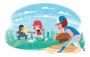 Kids in Uniform Playing Softball at The Summer Field vector