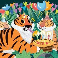 tigres de dibujos animados celebrando el día del tigre con pastel de cumpleaños vector