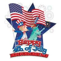 Uncle Sam and Lady Liberty Celebrating Independence Day Concept vector