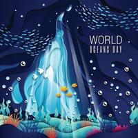 Celebrating World Oceans Day with Underwater Concept vector