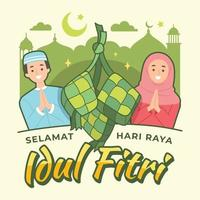 Muslim Couple with Ketupat Celebrate Idul Fitri vector