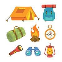 conjunto de equipo de campamento vector