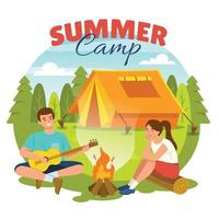 Happy Couple at Summer Camp vector