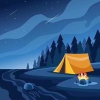 Night Camping on Summer Illustration vector