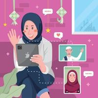 Eid Online Gathering with Family Concept vector