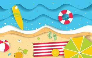 Summer Background with Paper Cut Style vector