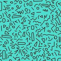 Hand draw black geometric memphis pattern 80's-90's styles on blue background. vector