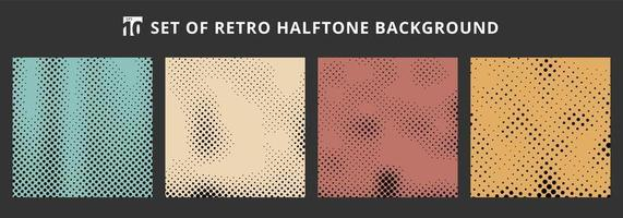 Set of halftone retro backgrounds. Abstract dotted pattern grunge textures. vector