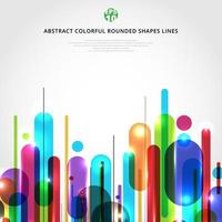 Abstract dynamic composition made of various colorful rounded shapes lines rhythm white background modern style. vector
