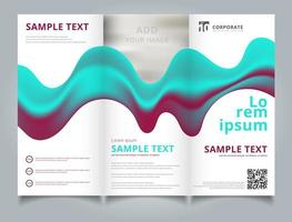 Template brochure layout design abstract 3D blue and pink color liquid composition with smooth gradient shape. vector