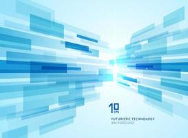 Abstract perspective futuristic technology geometric with light burst blue background. vector