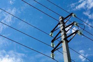 Publicar con cables temprano en la mañana contra el cielo. foto