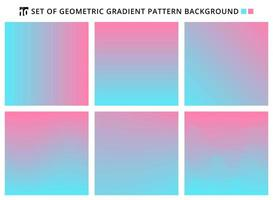 Collection of abstract geometric gradients pattern blue and pink backgrounds. vector