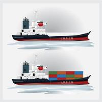 Cargo Shipping with Containers Vector Illustration Set