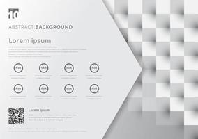 Template layout white and gray geometric squares pattern. vector