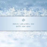 Winter white merry christmas greetings card made of snowflakes and snow festive blue background vector