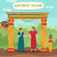 Flat Roman Couple Background Vector Illustration