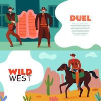 Wild West Duel Banners Vector Illustration