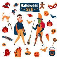 Halloween Accessories Flat Set Vector Illustration