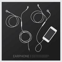 Music Earphones with Smartphone vector