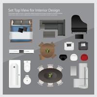 Modern furniture top view set vector