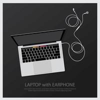 Laptop with Music Earphones vector illustration
