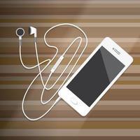 Smartphone with Earphone on wood desktop Vector Illustration