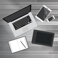 Creative Office Desktop Workspace Top View vector