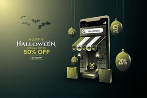 Online shopping banner special halloween vector