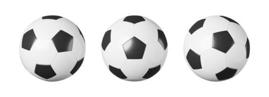 Conjunto de balón de fútbol o fútbol con vista diferente sobre fondo blanco aislado diseño simple concepto de equipamiento deportivo 3D rendering foto