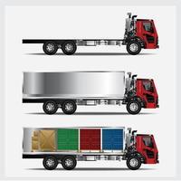 Cargo Trucks Transportation isolated Vector Illustration Set
