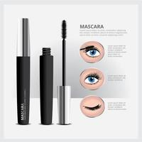 Mascara Packaging with Eye Makeup vector
