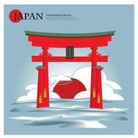 Itsukushima Shrine Japan Landmark and Travel Attractions Vector Illustration