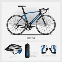 bicicleta con conjunto de ilustración de vector de accesorios