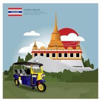Thailand Landmark and Travel Attractions Vector Illustration