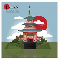 Kumano Nachi Taisha Japan Landmark and Travel Attractions Vector Illustration