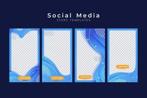 Set of social media story with wave background element vector
