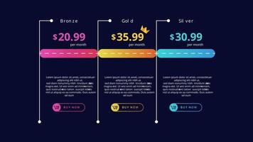 Modern and simple pricing table colorfull design vector