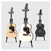 Acoustic Electric Guitar set with Stand vector