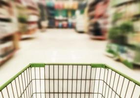 shopping trolley in supermarket photo