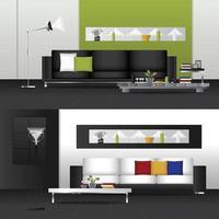 Flat Design Interior Living Room and Interior Furniture Set vector