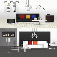 Flat Design Interior Living Room and Interior Furniture vector
