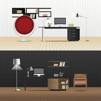 Flat Design Interior Working Room and Interior Furniture Vector Illustration