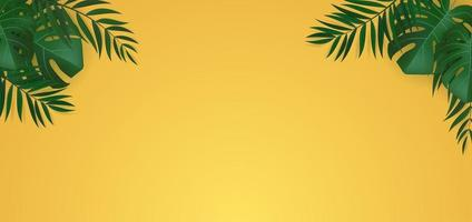 Natural Realistic Green Palm Leaf Tropical Background vector