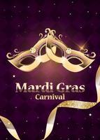 Fondo de carnaval de mardi gras máscara tradicional con plumas y confeti para fesival y mascarada y plantilla de desfile para invitación de diseño o flyer o poste y pancartas vector