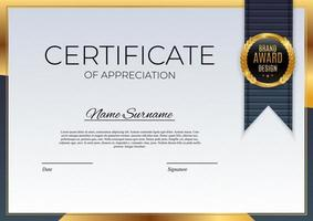 Blue and gold Certificate of achievement template Background with gold badge and border Award diploma design blank vector