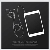 Music Earphones with Tablet vector illustration